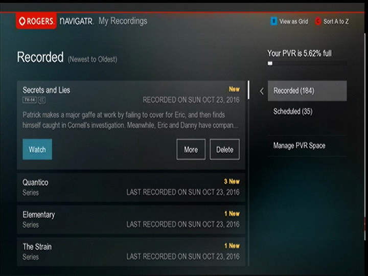 Recordings - List View
